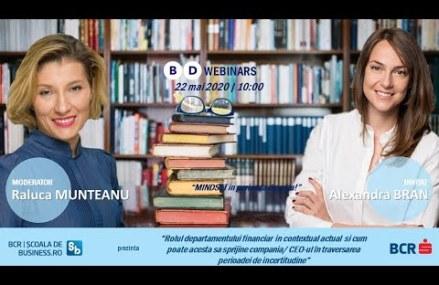 Webinar Alexandra Bran – Rolul departamentului financiar si cum poate acesta sa sprijine compania