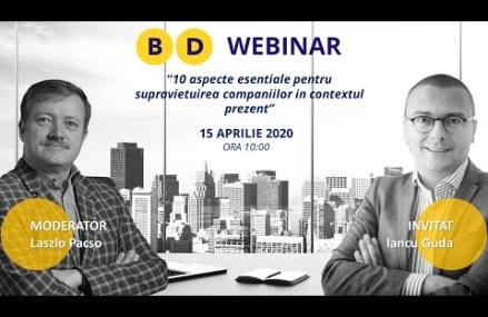 Webinar Iancu GUDA – 10 aspecte esentiale pentru supravietuirea companiilor in contextul prezent