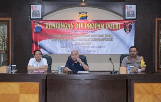 Rombongan Tim Divisi Profesi dan Pengamanan (DIV PROPAM ) Mabes Polri Kunjungi Mapolresta Banjarmasin