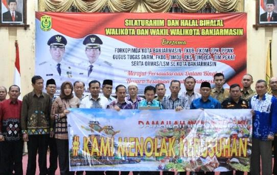Kapolresta Banjarmasin Hadiri Silaturahmi dan Halal Bihalal Bersama bersama Forkopimda Kota Banjarmasin.