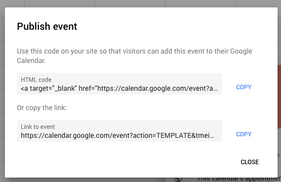 Google Calendar Publish Event