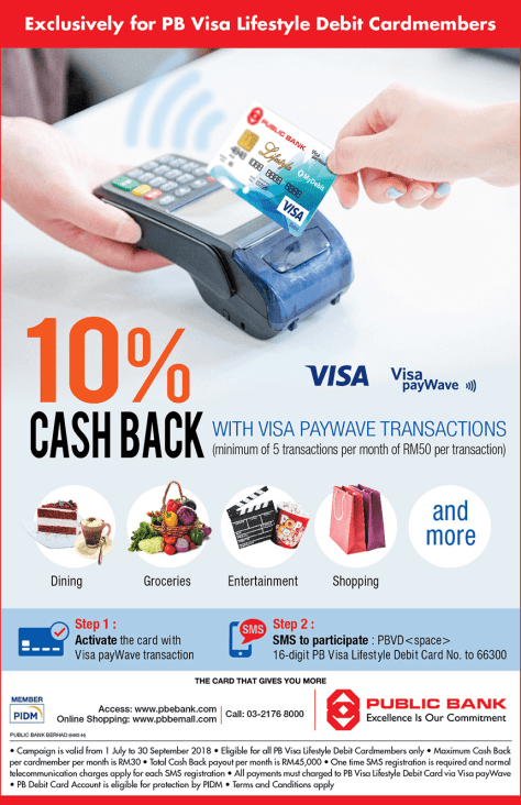 10% Cash Back with Visa PayWave on PB Visa Lifestyle Debit Card