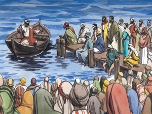 Jesus teaching from a boat