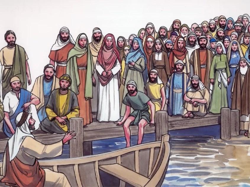 Jesus teaching from boat