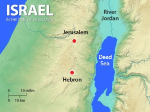Map showing Jerusalem and Hebron