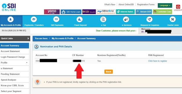 how to find CIF Number in SBI