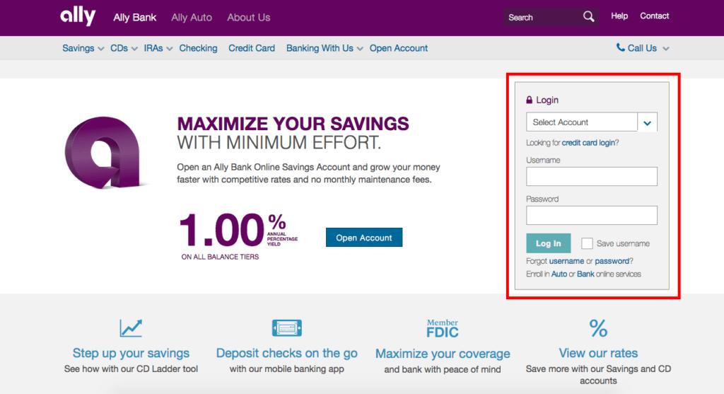Ally Bank Online Banking Login