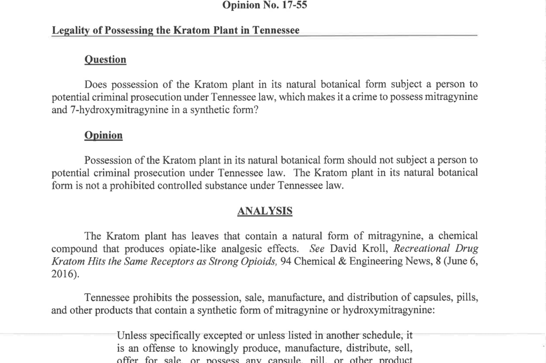 AG in Tennessee stated Kratom is legal in State.