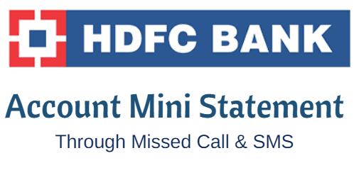 HDFC bank account MIni Statement
