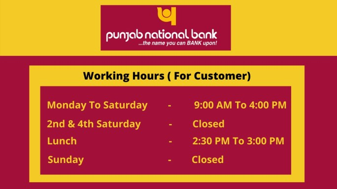 PNB Opening, Closing and Lunch Timings