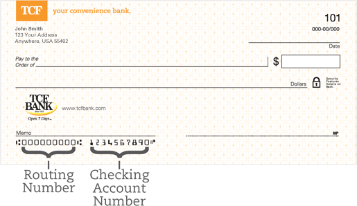 Routing Number And Account Number