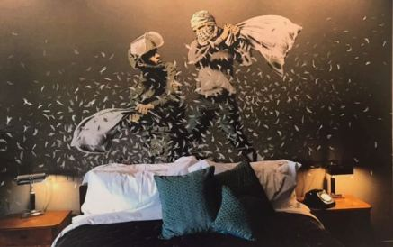 2017 - Original - The Walled Off Hotel - Cushion war - Banksyweb