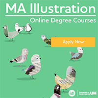 MA Illustration Online Degree Courses_200×200のバナーデザイン