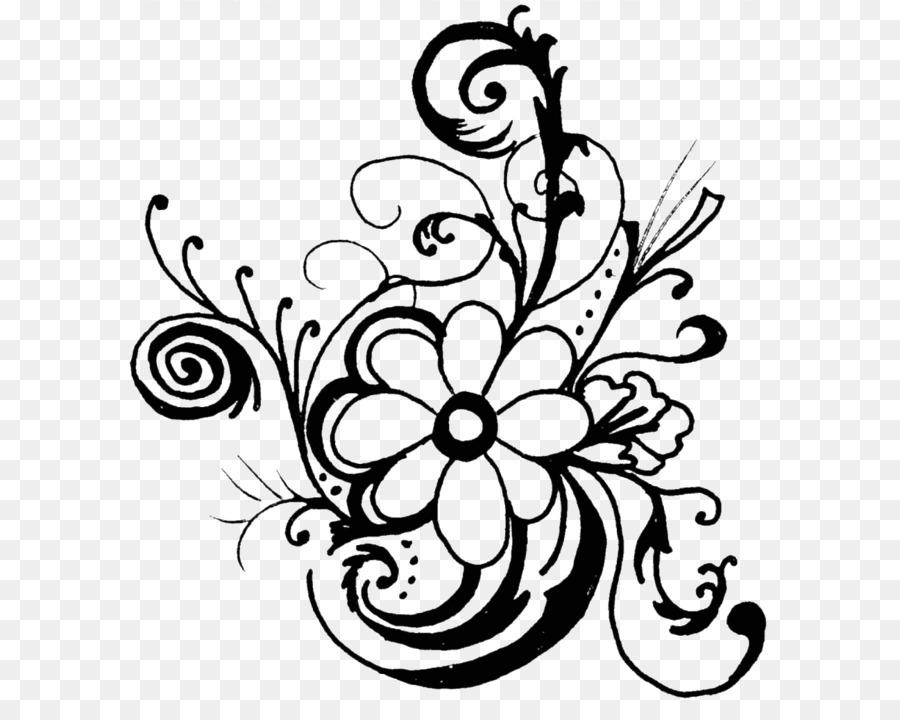 Flower Black And White Floral Design Clip Art