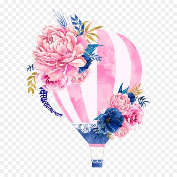 hot air balloon flower clip art