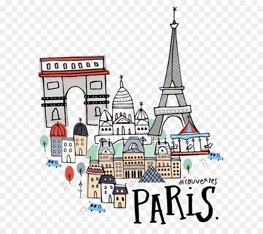 Paris Cartoon Drawing Illustration  Handpainted Paris