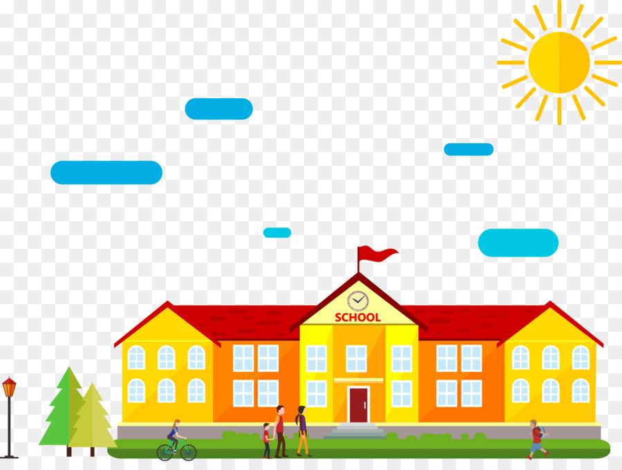 Schoolyard Cartoon Drawing  Vector illustration school