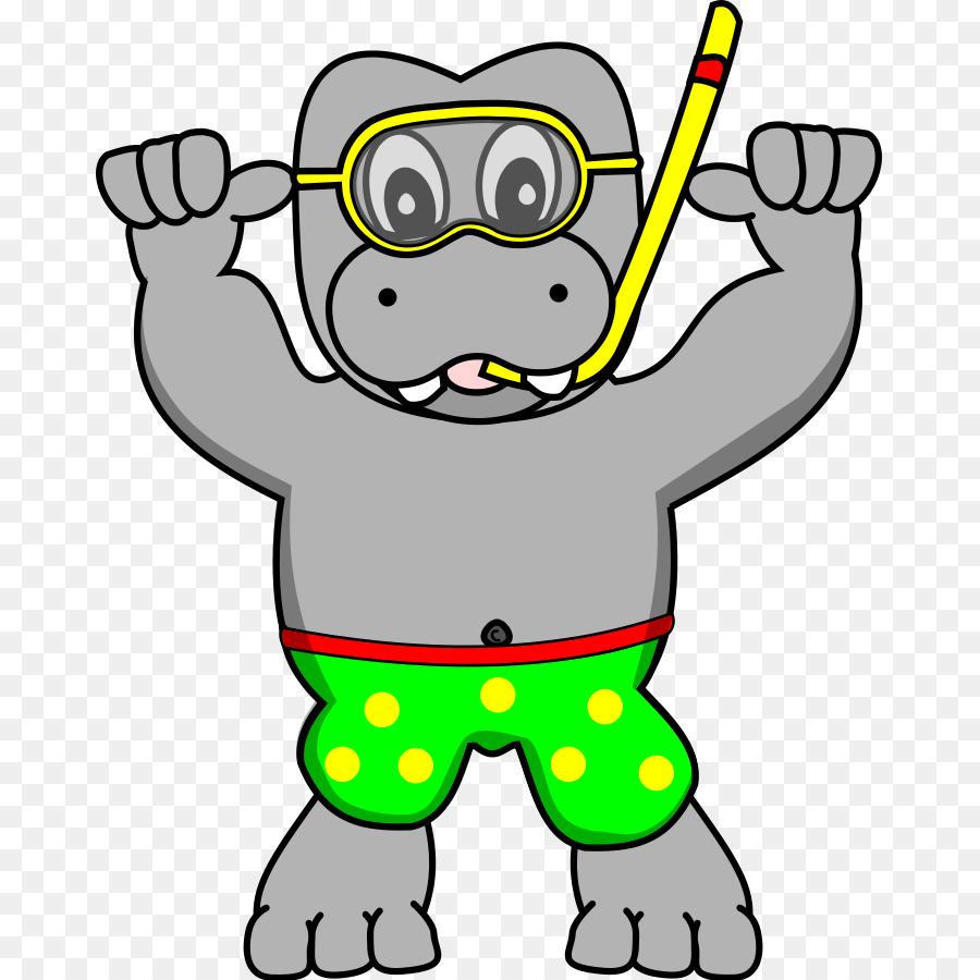 medium resolution of hippopotamus snorkeling diving mask plant yellow png