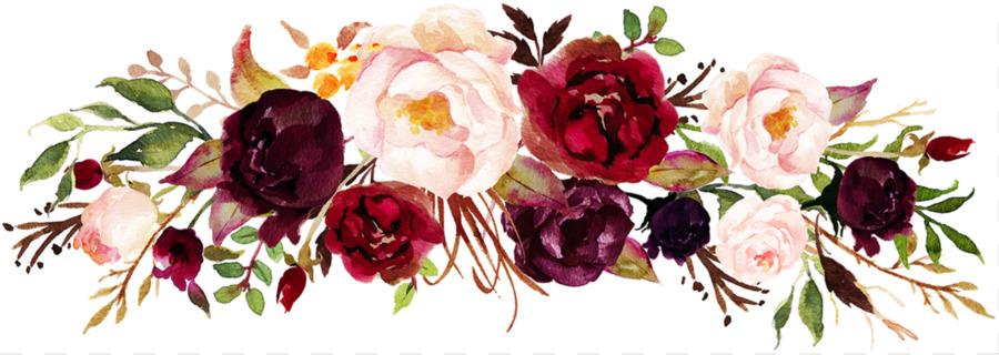 Marsala Wine Wedding Invitation Flower Clip Art