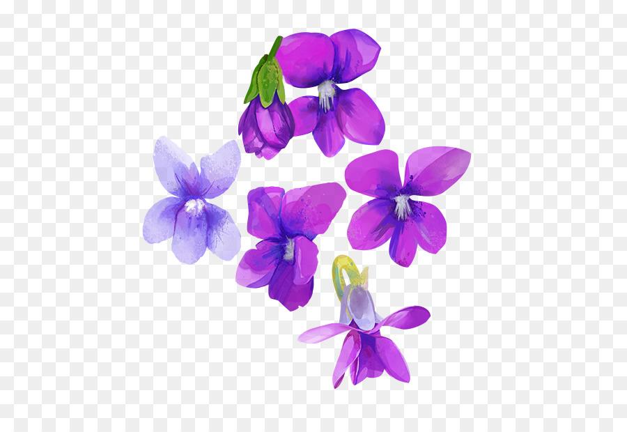 Watercolour Flowers Purple Violet Watercolor painting