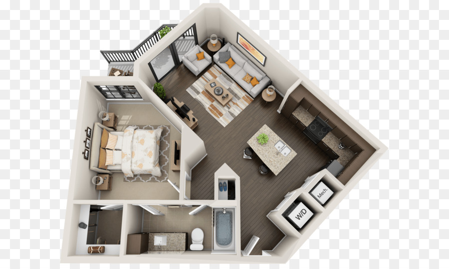 3D Floor Plan Studio Apartment House