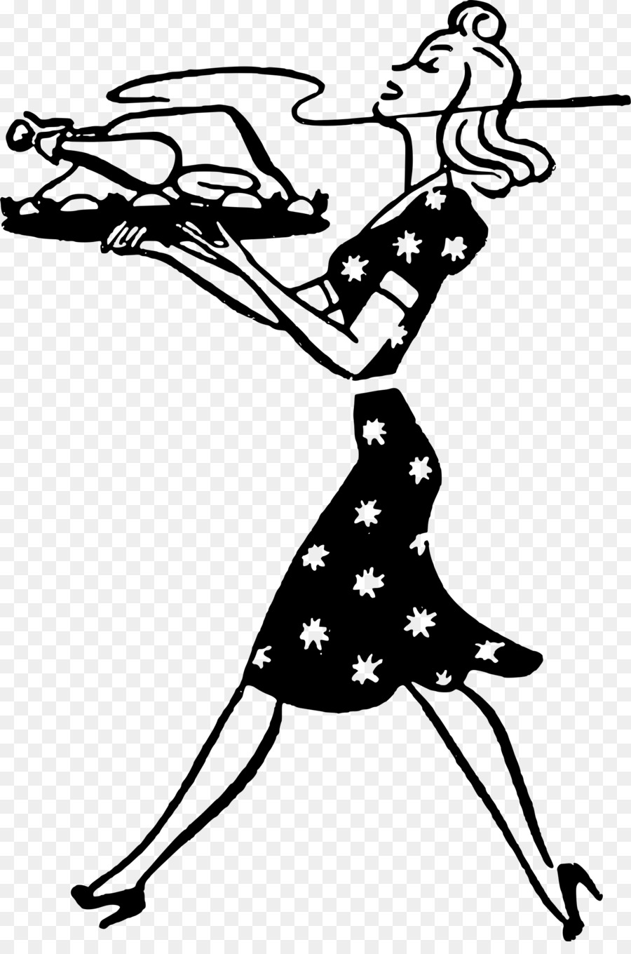 hight resolution of housewife turkey meat woman line art silhouette png