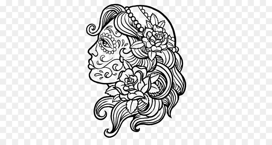 La Calavera Catrina libro para Colorear, Dibujo de Mandala