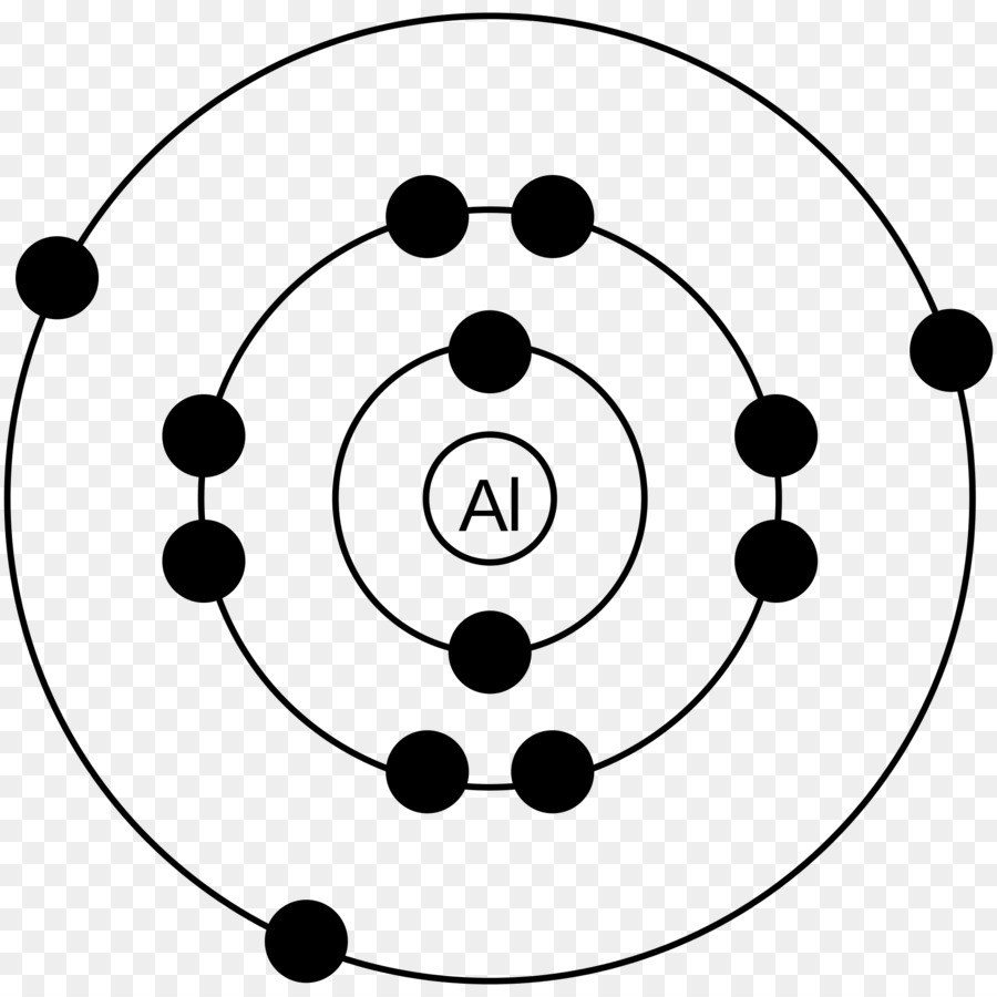 hight resolution of bohr model aluminium electron white black png
