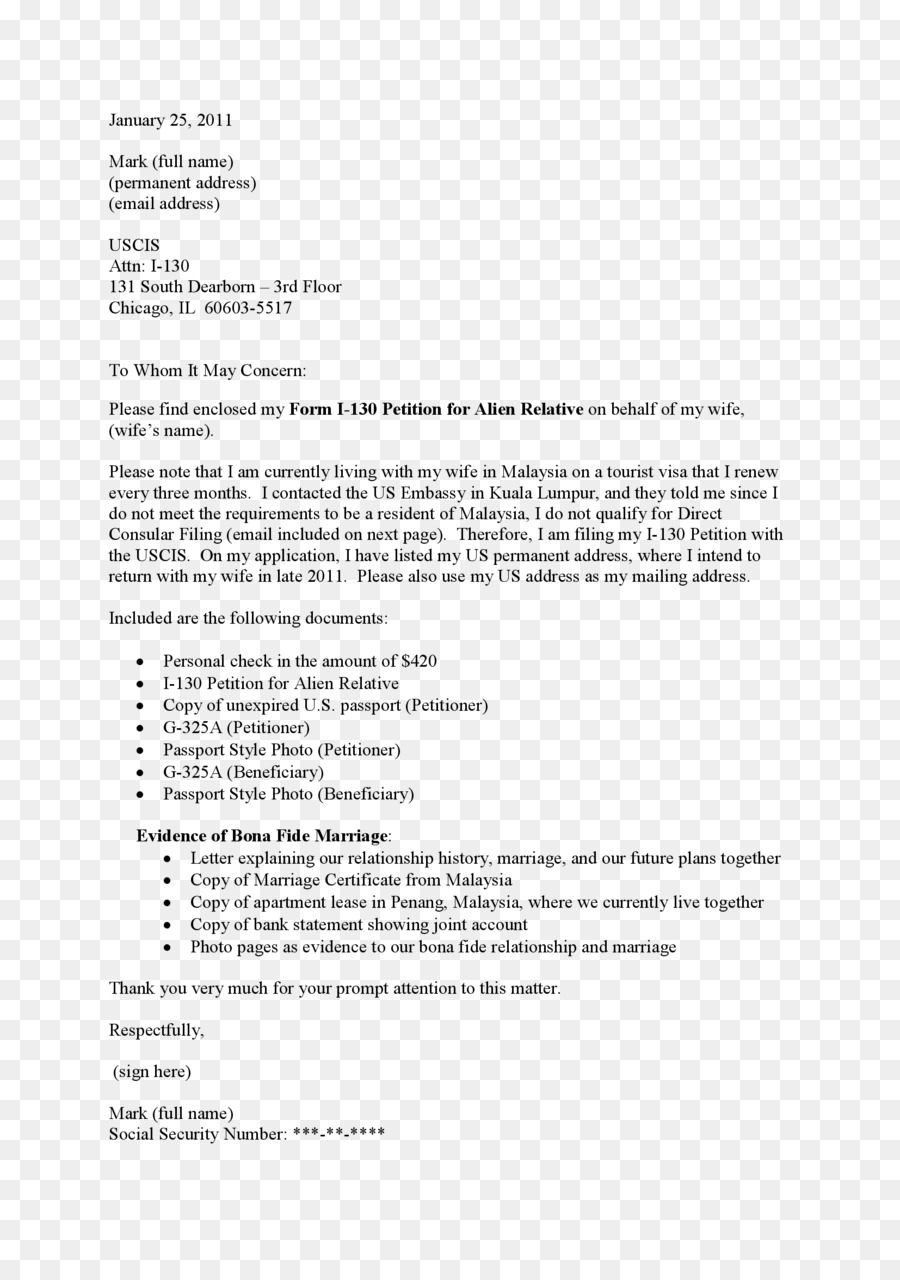 I 130 Cover Letter Cover Letter Form I 130 Résumé Template Others Png Download