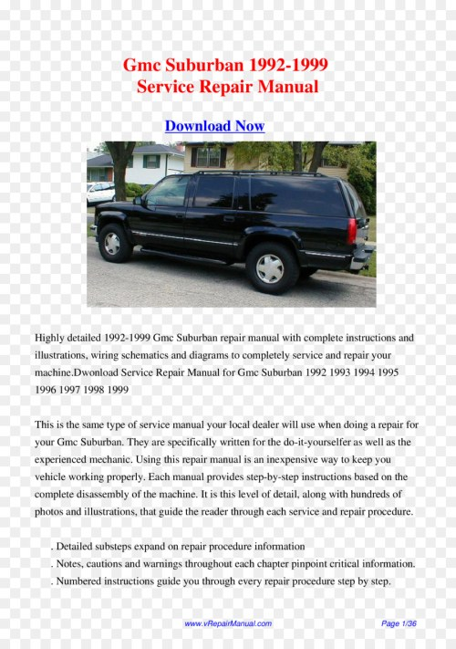 small resolution of 1999 gmc suburban bumper car luxury vehicle manual cover