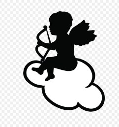 cupid drawing heart black and white silhouette png [ 900 x 900 Pixel ]