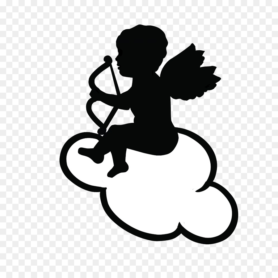 hight resolution of cupid drawing heart black and white silhouette png