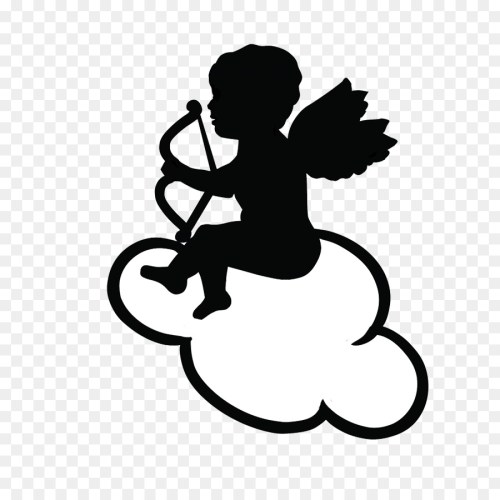 small resolution of cupid drawing heart black and white silhouette png