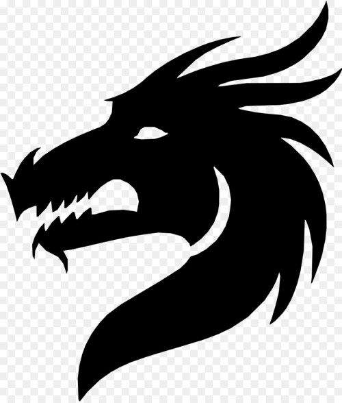 small resolution of silhouette dragon royaltyfree head blackandwhite png