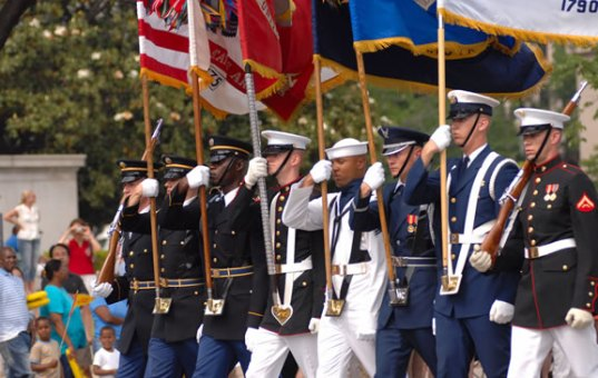 Parade flag etiquette