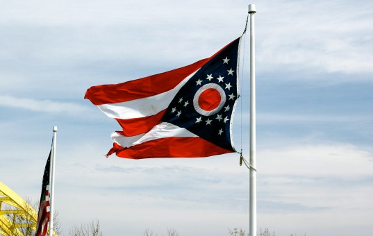 It's tricky folding the state flag of Ohio