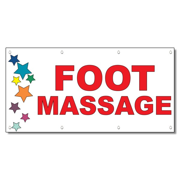 Foot Massage Red Stars 13 Oz Vinyl Banner Sign With Grommets