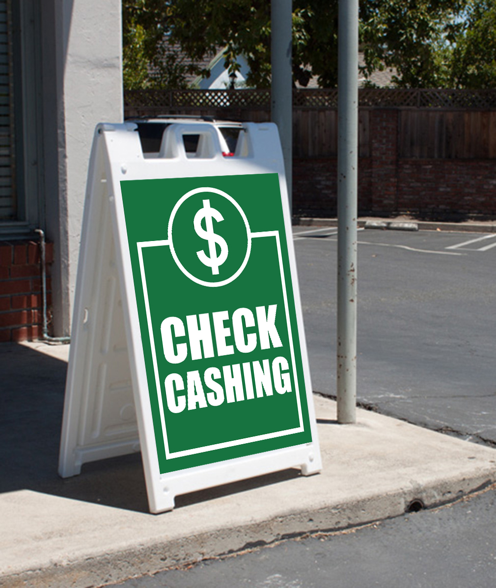 Check Cashing Signicade AFrame Sign Sidewalk Sandwich