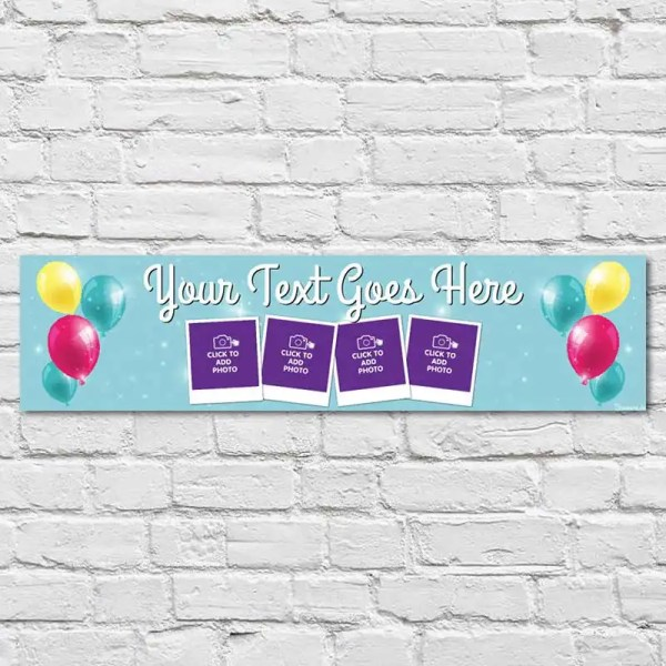 Personalised Birthday Banner with blue sparkly background and balloons
