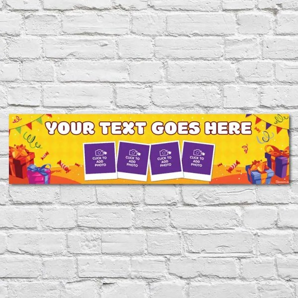 Personalised Birthday Banner with a yellow background and gifts