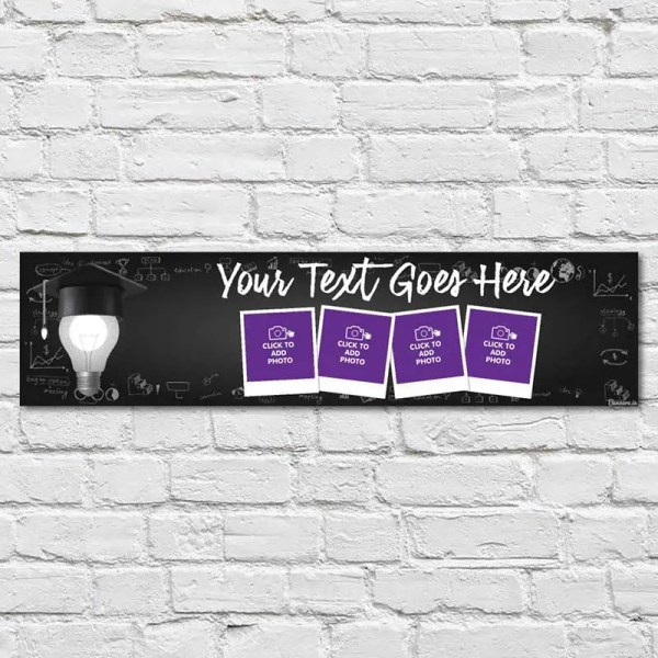 Personalised Graduation Banner with photos and a blackboard background and a light bulb