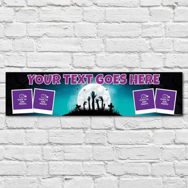 Personalised Halloween Banner with photos and a dark moonlight graveyard background
