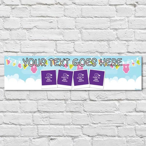 Personalised Christening Banner with baby blue background and baby clothes