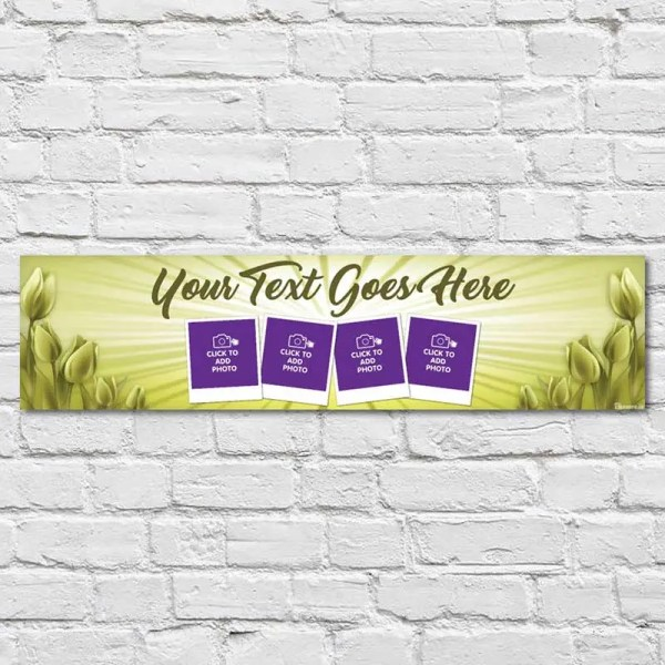 Personalised Communion and Confirmation Banner with a yellow background and flowers