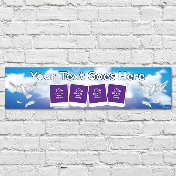 Personalised Communion and Confirmation Banner with a sky background with doves