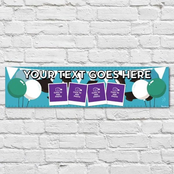 Personalised Graduation Banner with photos and a blue background with caps balloons and bunting