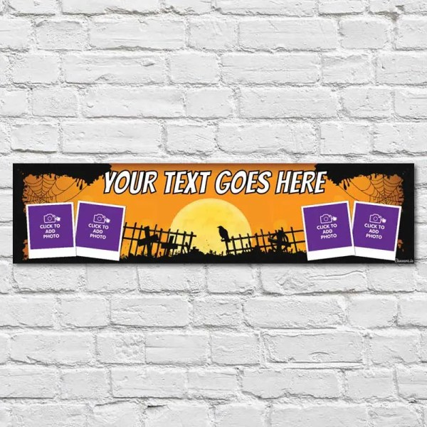 Personalised Halloween Banner with orange and black background with a graveyard in the centre