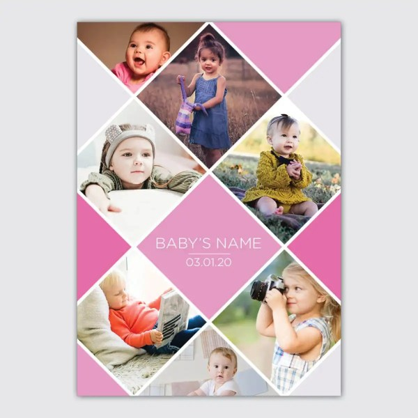 personalised pink collage poster for babies