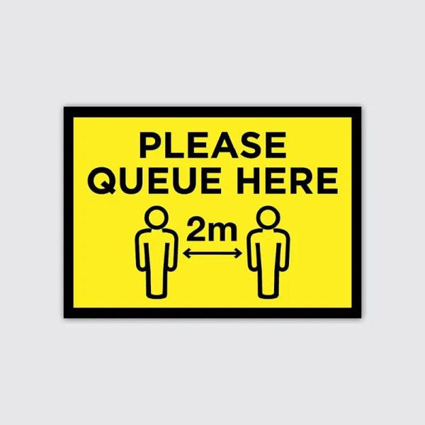 Covid-19 Coronavirus Social Distancing Please Queue Here Floor Sticker