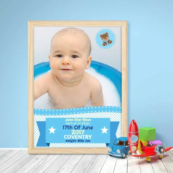 Personalised Baby Boy Poster with image and text
